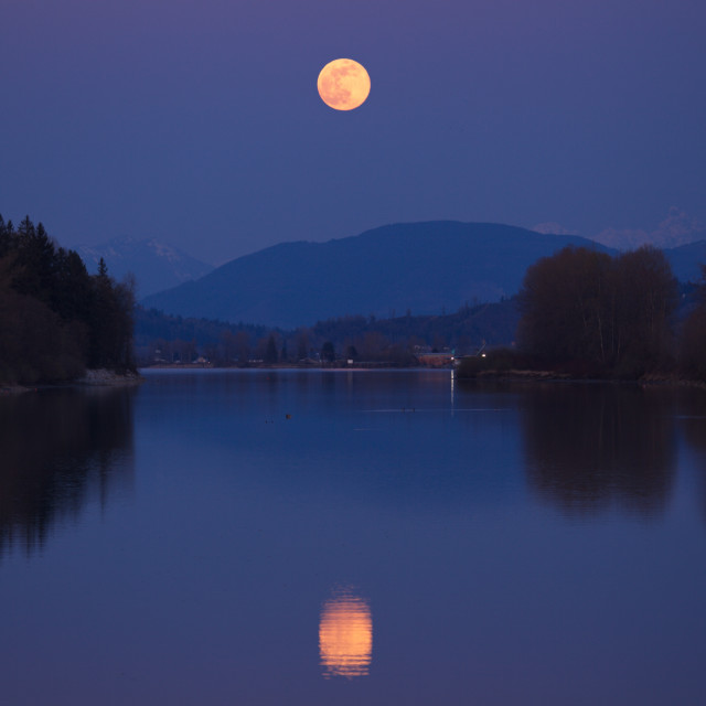 """""""Pink Supermoon Reflection"""" stock image"""