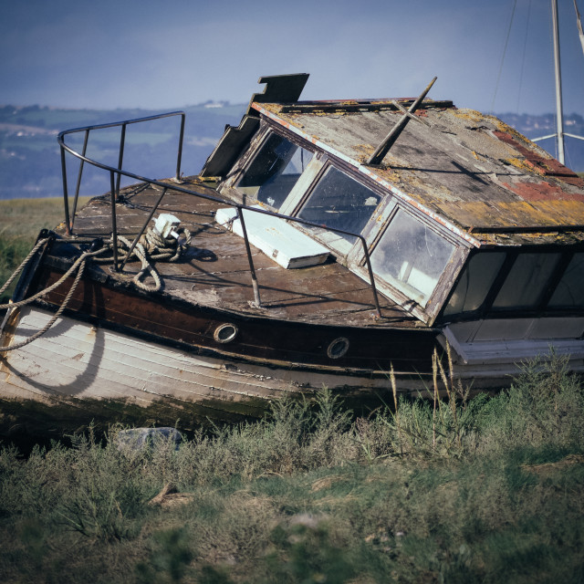 """""""Old boat on the Dee"""" stock image"""