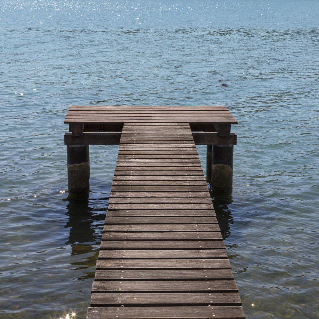 """""""Soft sea waves and wooden pier"""" stock image"""