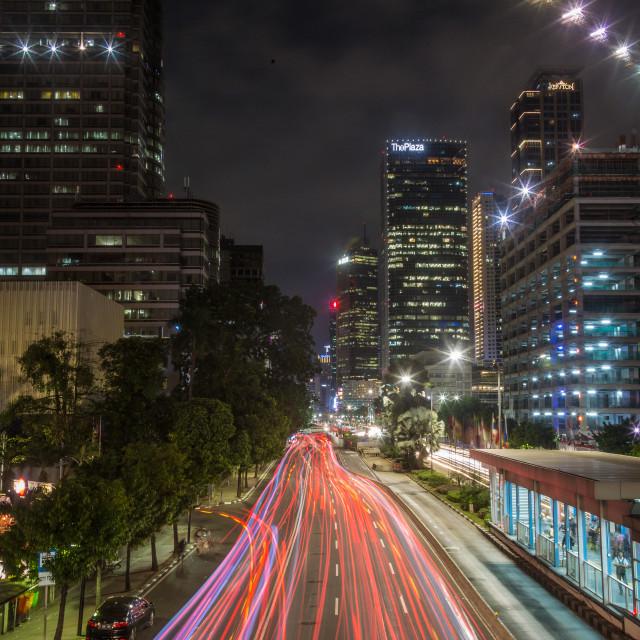 """City of Jakarta at night"" stock image"