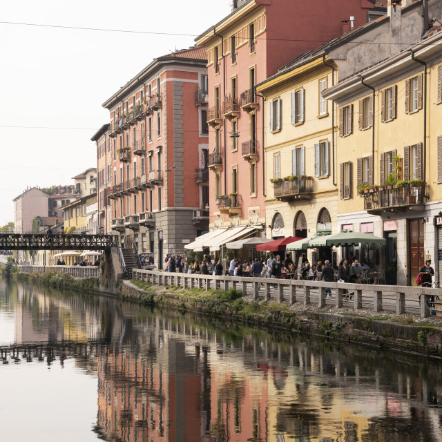 """Old buildings reflected in the Naviglio Grande, Milan, Lombardy, Italy"" stock image"