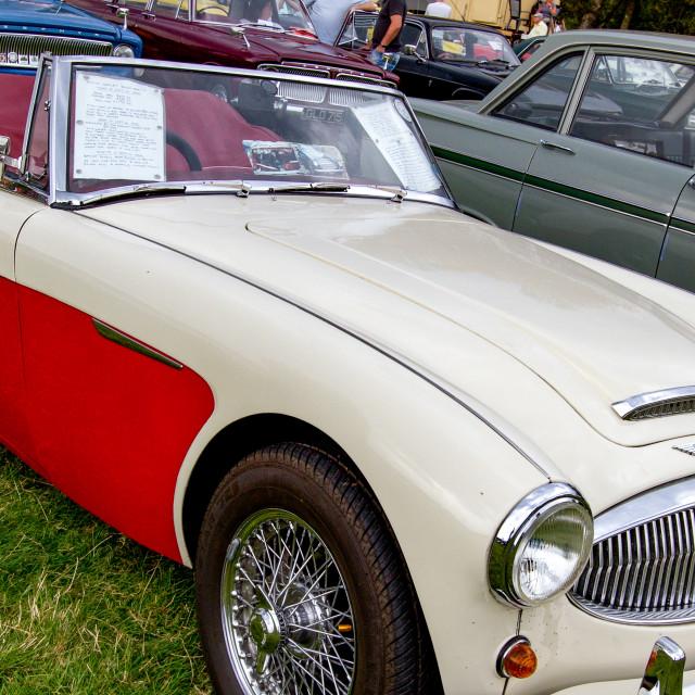 """Austin Healey 3000 Mk 11 on display at Otley 2012 Vintage Transport Extravaganza"" stock image"