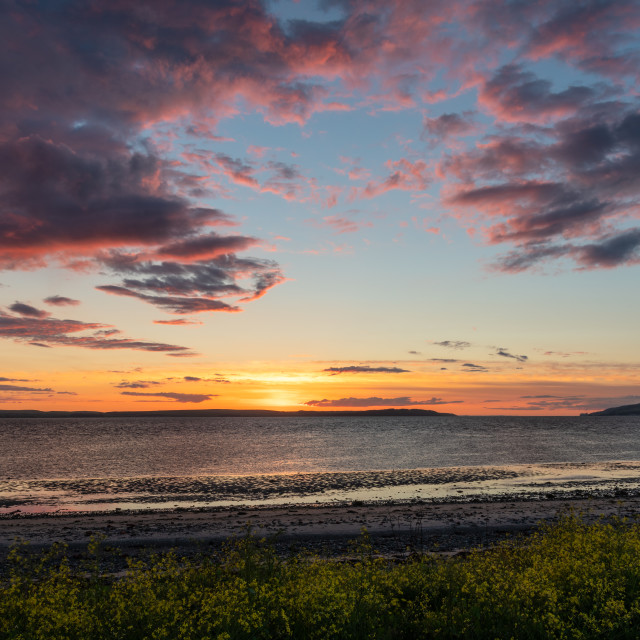 """Sunset over Loch Ryan, Scotland"" stock image"