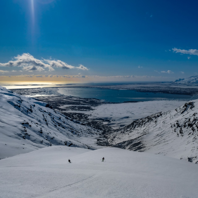 """Skiing Down Veðurárdalur"" stock image"