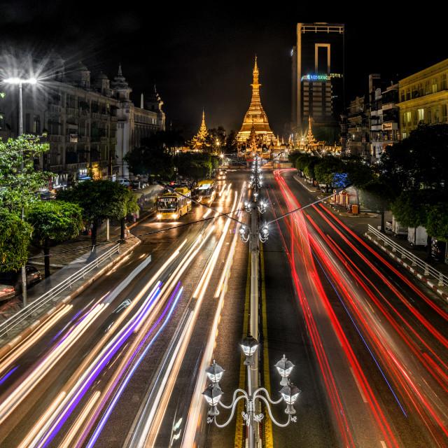 """Sule Pagoda at Night"" stock image"