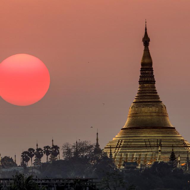 """""""Shwedagon Sunset"""" stock image"""