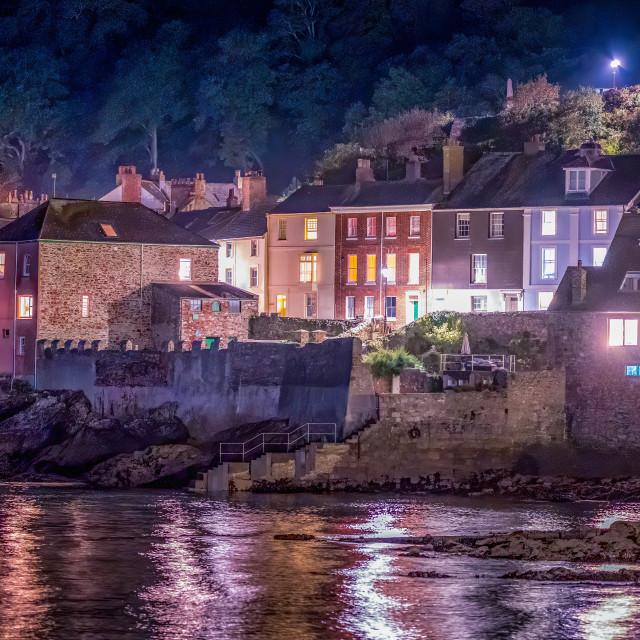 """Kingsand/Cawsand beach by night, Cornwall UK."" stock image"