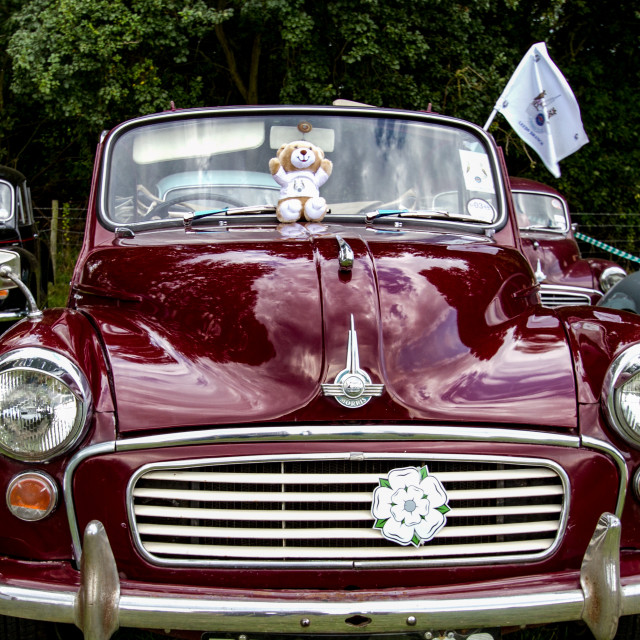 """Morris Minor 1000 Convertible Maroon on display at 2012 Vintage Transport Extravaganza"" stock image"