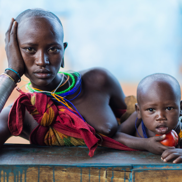 """Surma woman with his children"" stock image"