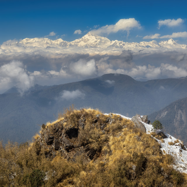 """Kanchenjunga mountain range from Lungthung view point, Zuluk, Co"" stock image"