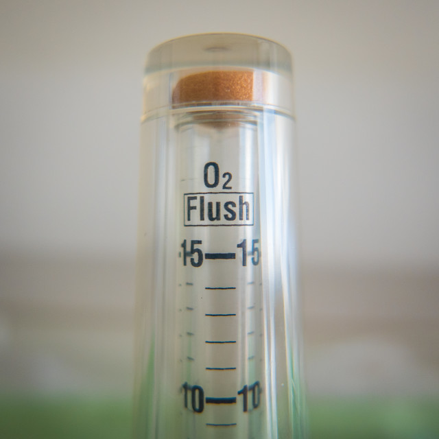 """Coronavirus Ventilator Oxygen Flush Valve"" stock image"