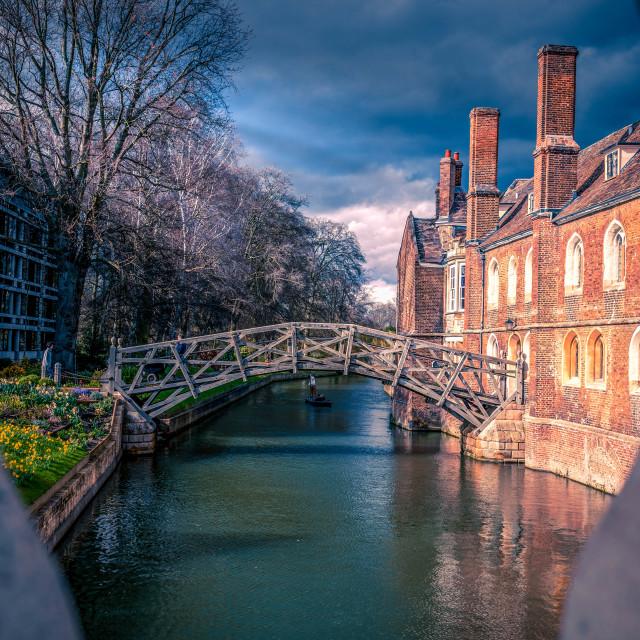 """""""Sunset, Mathematical Bridge, Cambridge UK."""" stock image"""