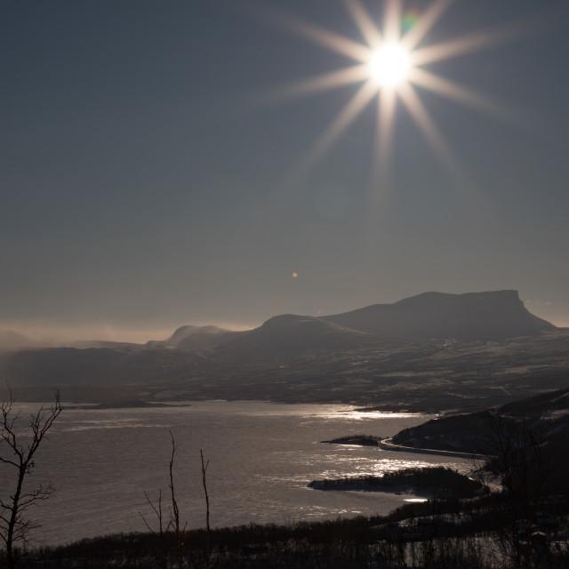 """Sun over Lapporten"" stock image"