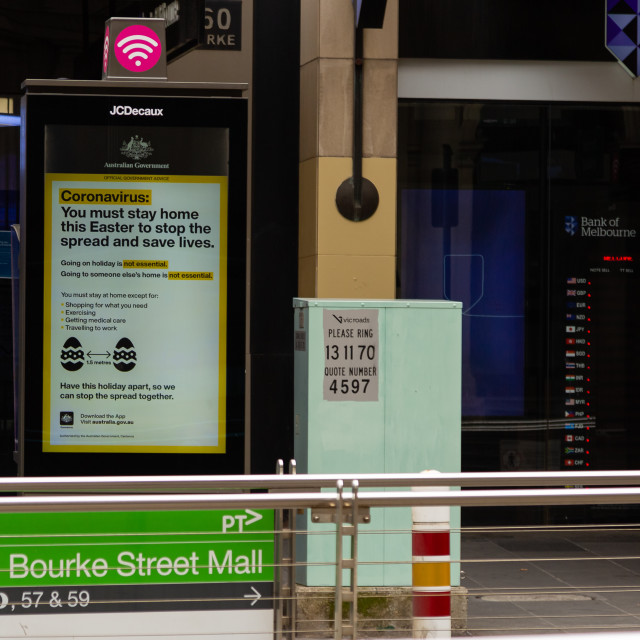 """""""COVID-19 Crisis in Melbourne, Melbourne, Australia"""" stock image"""