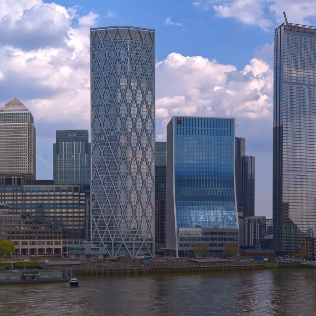 """Canary Wharf South Riverfront"" stock image"