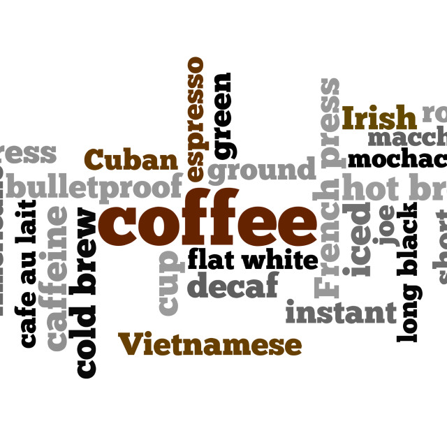 """""""Coffee word cloud - words related to coffee"""" stock image"""