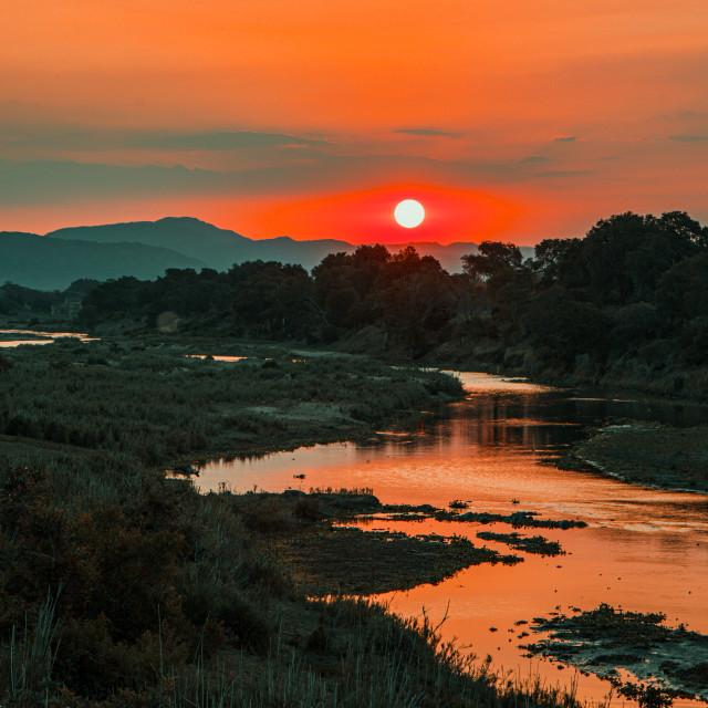 """Sunset over the Olifantsriver"" stock image"