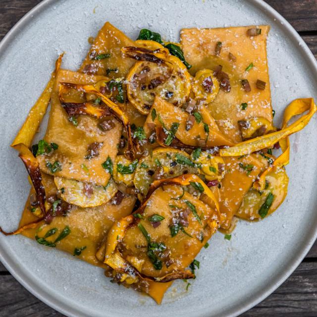 """Spinach and ricotta ravioli"" stock image"