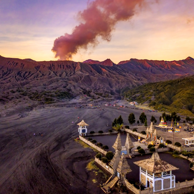 """Mount Bromo and the Temple"" stock image"