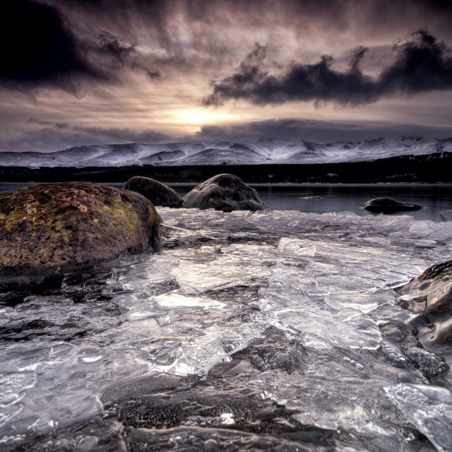 """The frozen shore line of Loch Morlich"" stock image"