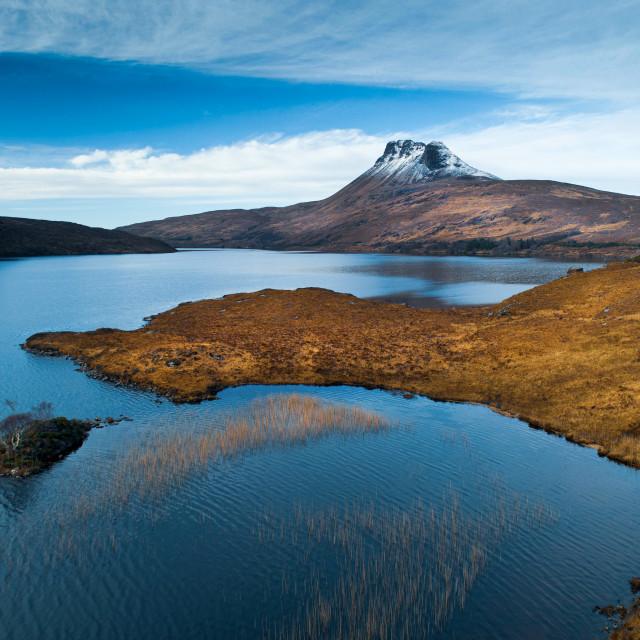 """""""Loch Lurgainn and Stac Pollaidh"""" stock image"""