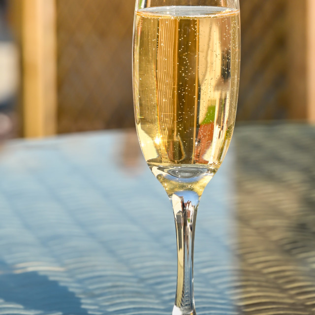 """Single flute glass of champagne on the glass table top"" stock image"