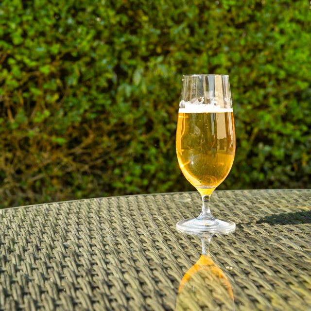 """Glass of golden beer lager on the glass table top of garden furniture"" stock image"