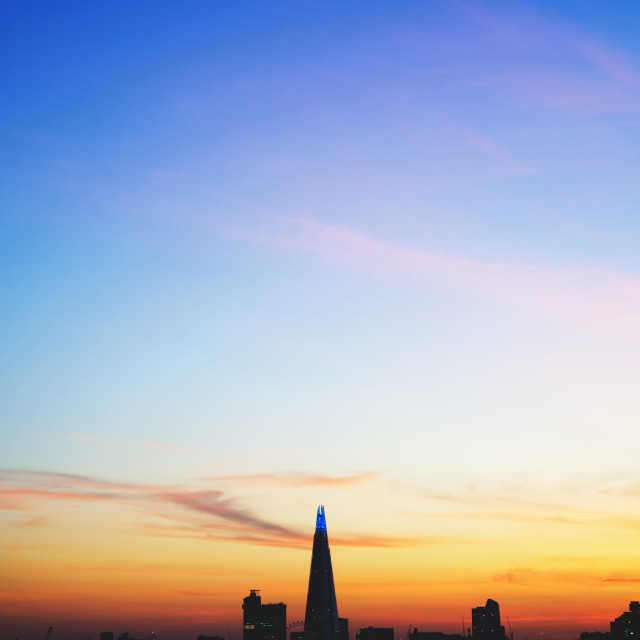 """The Shard Lit Blue for the NHS"" stock image"
