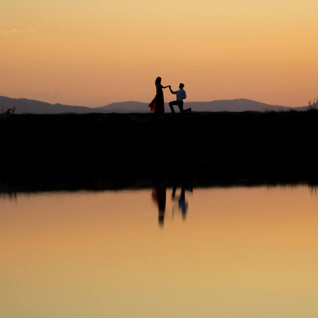 """Proposing at dusk"" stock image"