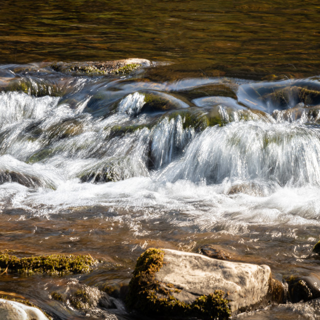"""Gushing Water, Teviot River, Scotland"" stock image"