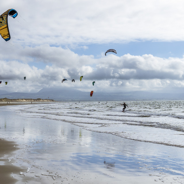 """Kitesurfers at Newborough"" stock image"