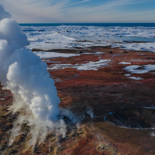 """""""Volcano and smoke"""" stock image"""
