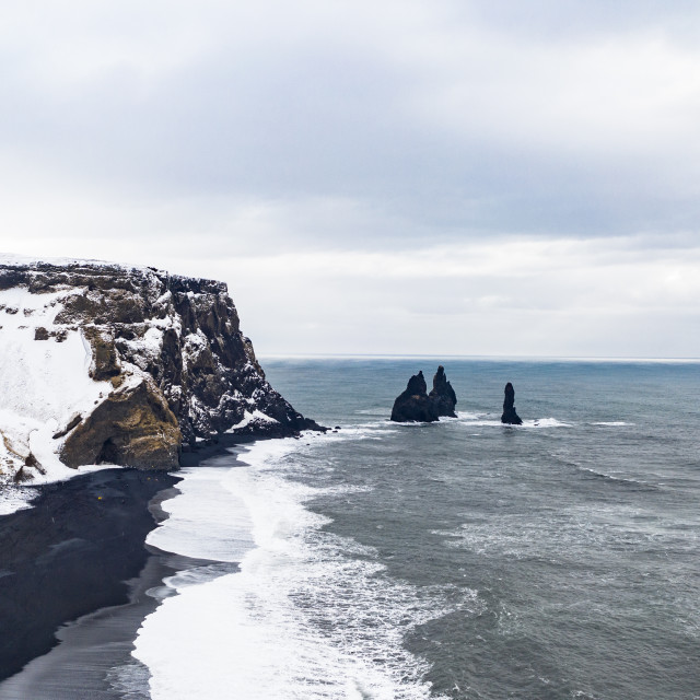 """The rocks of trolls in Black beach, Iceland"" stock image"