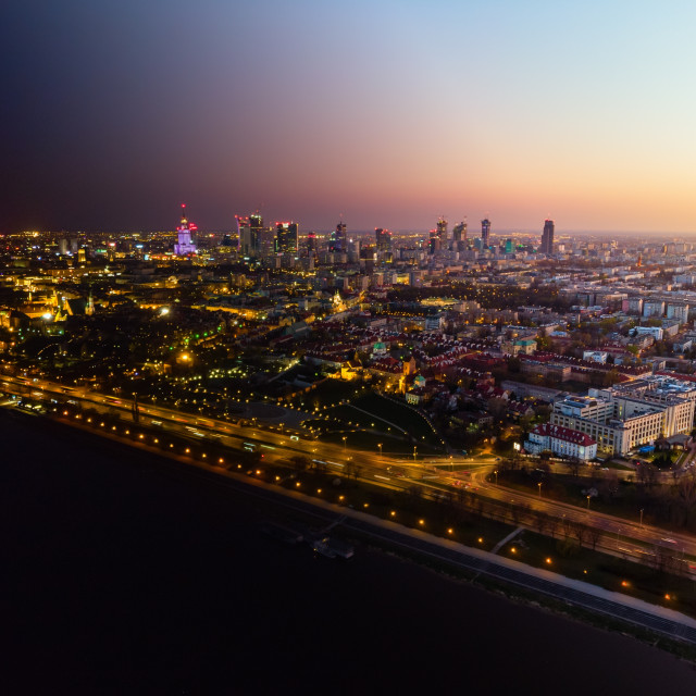 """""""Warsaw city center at dusk, day into night transformation"""" stock image"""