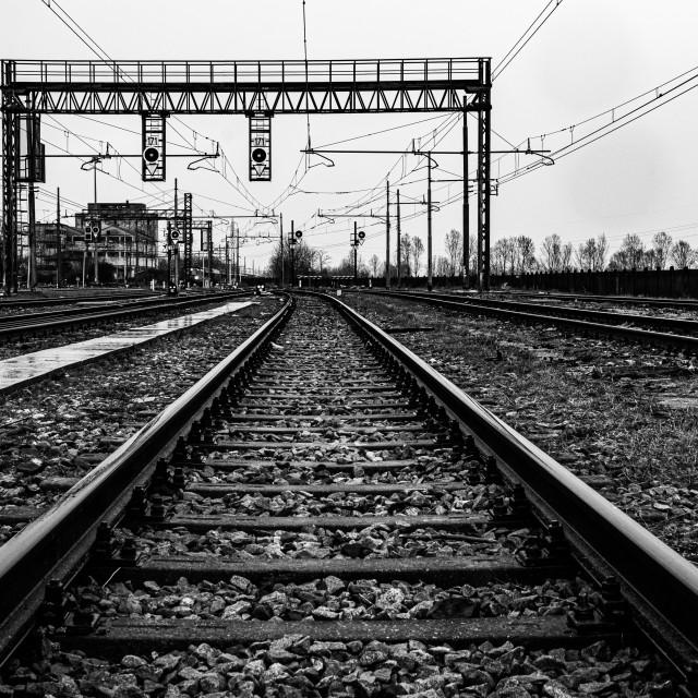 """""""Empty railroad tracks on a rainy day"""" stock image"""