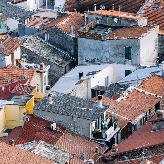 """Badalucco Rooftops"" stock image"