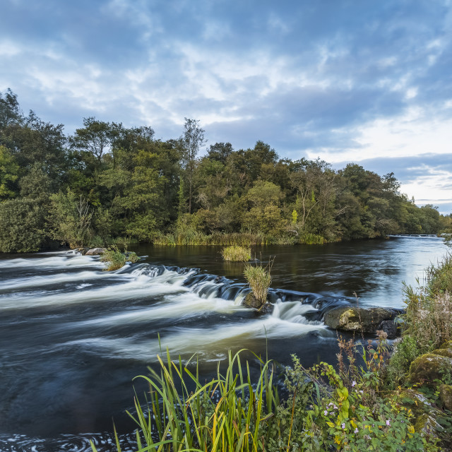 """""""Small cascade on the River Shannon outside of Castleconnell with a small..."""" stock image"""