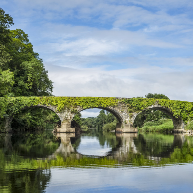 """""""Old stone bridge over the Blackwater river in Kilavullen reflected in the..."""" stock image"""