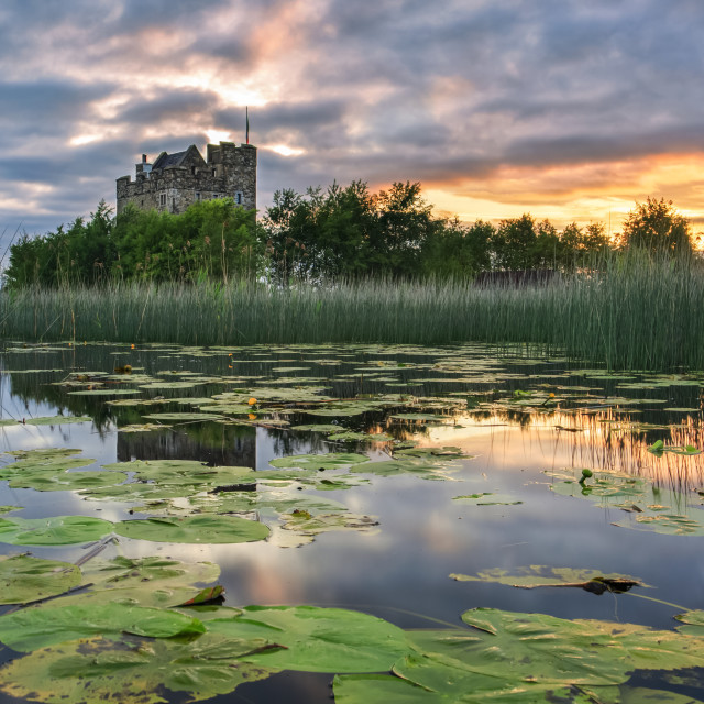"""""""Small castle on an island on Lough Derg at sunrise in summer with lily pads..."""" stock image"""