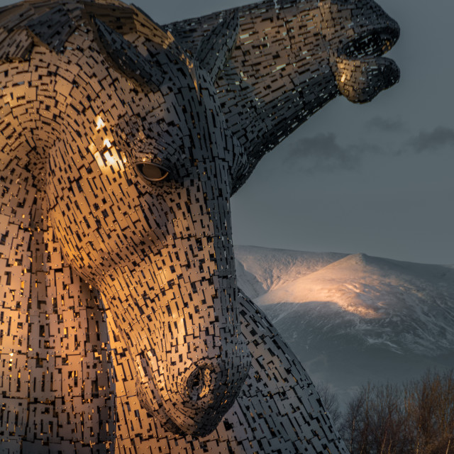 """""""Golden Hour at The Kelpies"""" stock image"""