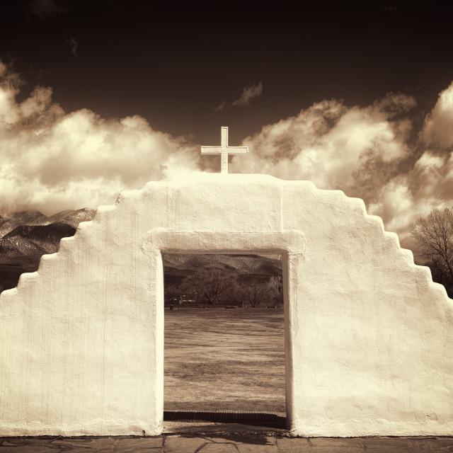 """""""Church in Taos"""" stock image"""