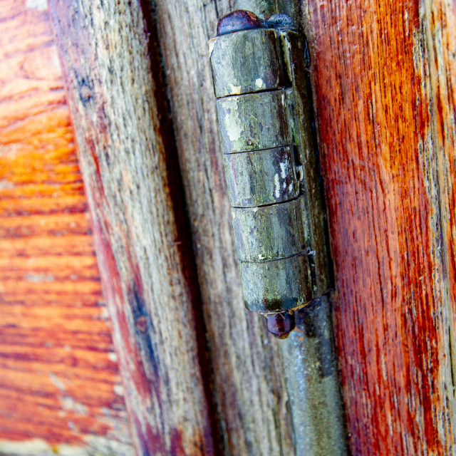 """""""Vintage carriage/Saloon Door Hinge Detail on display at Embsay and Bolton Abbey Steam Railway"""" stock image"""