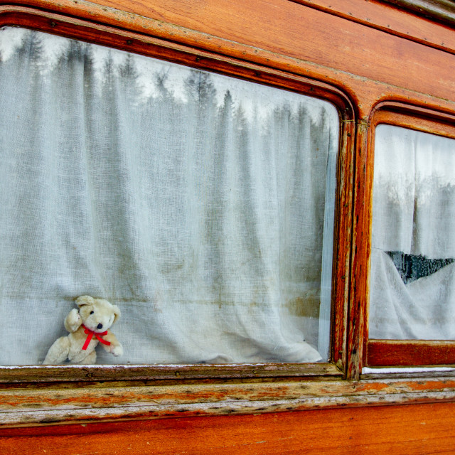 """""""Vintage carriage/Saloon Window Detail on display at Embsay and Bolton Abbey Steam Railway"""" stock image"""