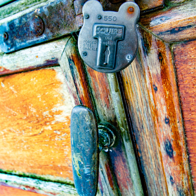 """""""Vintage carriage/Saloon Door and Padlock Detail on display at Embsay and Bolton Abbey Steam Railway"""" stock image"""