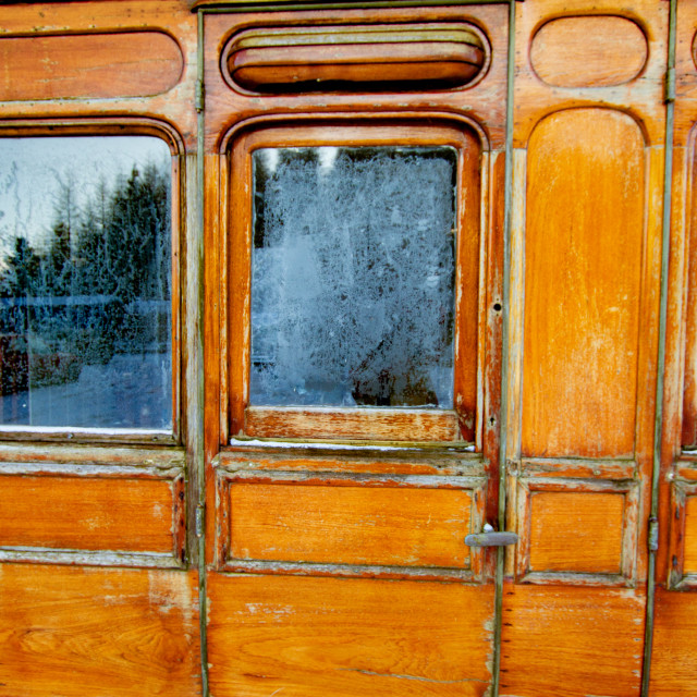 """""""Vintage carriage/Saloon Door Detail on display at Embsay and Bolton Abbey Steam Railway"""" stock image"""
