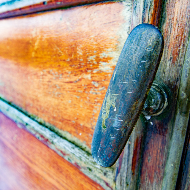 """""""Vintage carriage/Saloon Door/Handle Detail on display at Embsay and Bolton Abbey Steam Railway"""" stock image"""