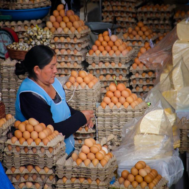 """Egg saleswoman, Sucre Bolivia"" stock image"