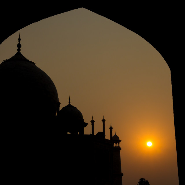 """Sunrise at Taj Mahal"" stock image"