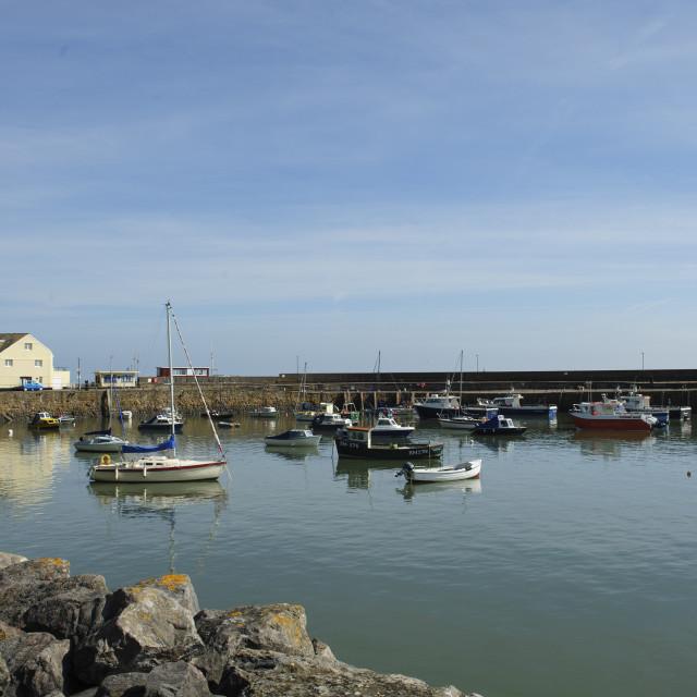 """Minehead Harbour, Somerset"" stock image"