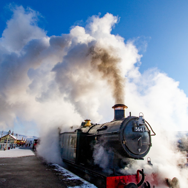 """""""Locomotive no. 5643, Class 5600, Origin GWR in use at Embsay and Bolton Abbey Steam Railway"""" stock image"""